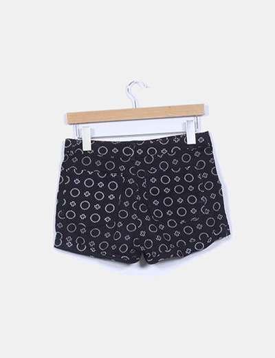 Shorts denim negro estampado
