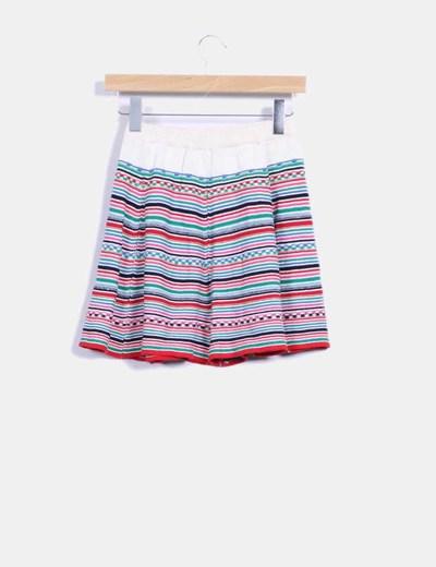 Falda de punto multicolor