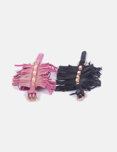 Conjunto de dos pulseras con flecos