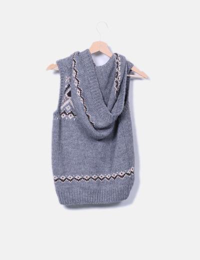 Chaleco de punto combinado gris con capucha