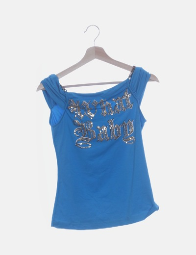 Camiseta azul print con cadenas