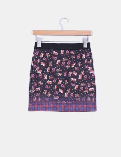 Mini falda elastica estampado floral