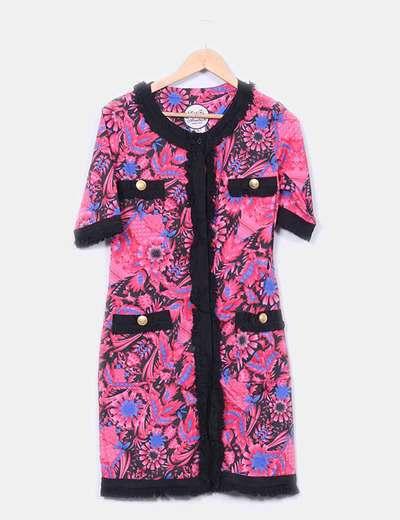Vestido floral rosa con flecos Almatrichi