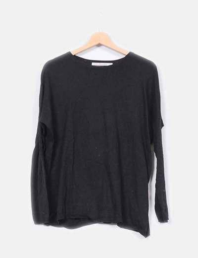 Suéter básico de punto negro Zara