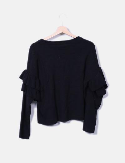 Jersey tricot negro mangas con volantes