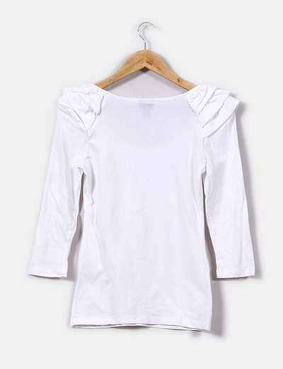 H Blanca Volantes Hombro Camiseta Con Micolet amp;m descuento 67 En r1qfErw
