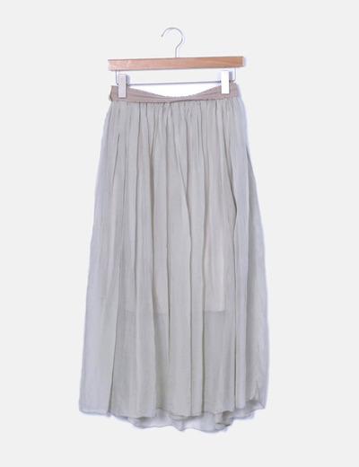 Falda midi de gasa gris