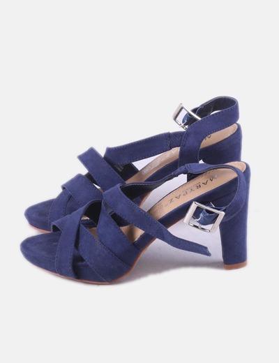 Sandalia de tacón azul marina