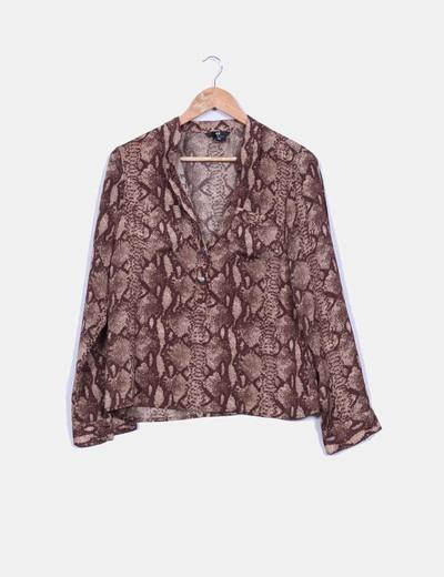 Blusa manga larga ancha estampado pitón santinado H&M