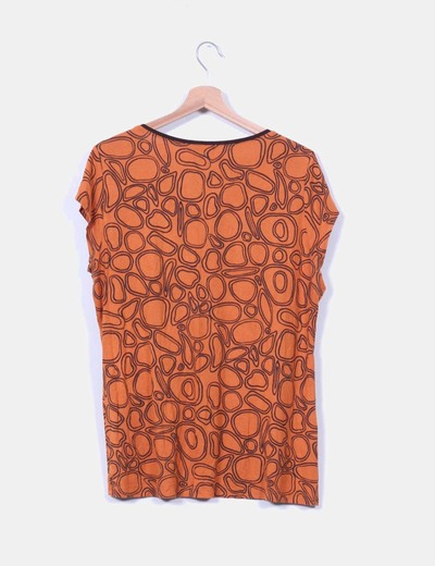 Top estampado naranja