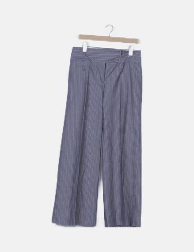 Pantalón de traje gris de rayas pata de elefante