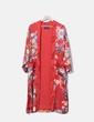 Kimono rouge à long satin floral Bershka