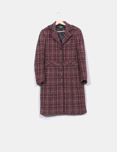 Abrigo combinado texturizado rojo Benetton