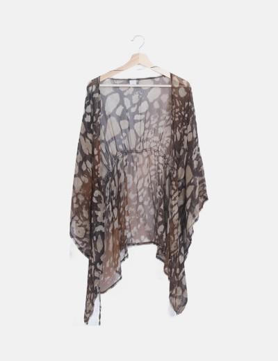 Kimono marrón semitransparente