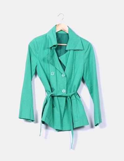 Chaqueta verde con cinturón NoName