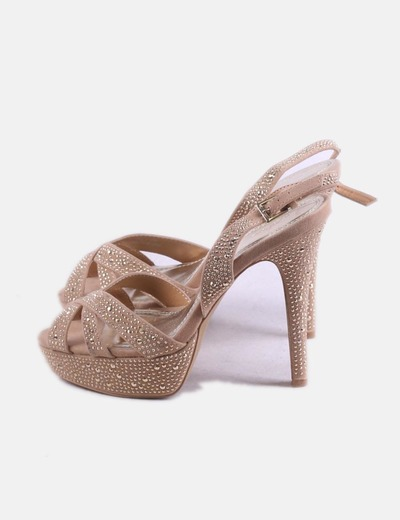 Sandalia beige strass