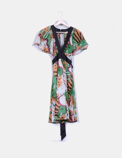 Vestido estampado combinado NoName