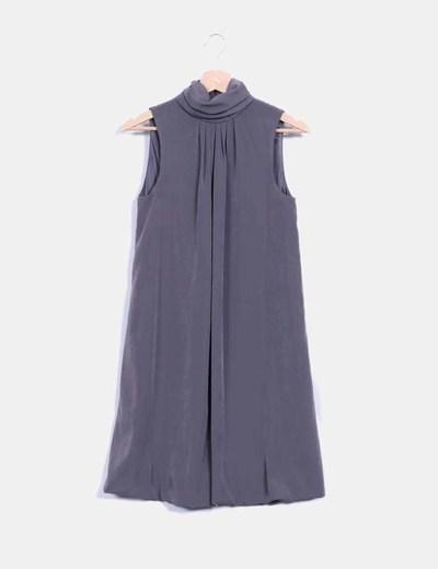 Vestido gris taupe tacto seda NoName