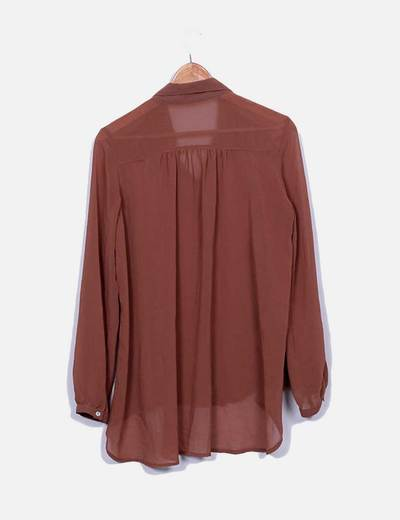 Camisa fluida marron