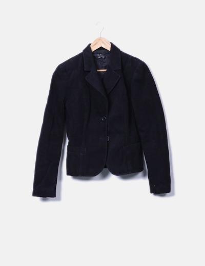 Blazer noir en daim Zara