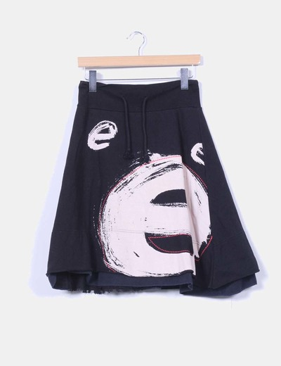 Black midi sport skirt with print Desigual