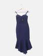 Vestido maxi azul marino volante Quiz