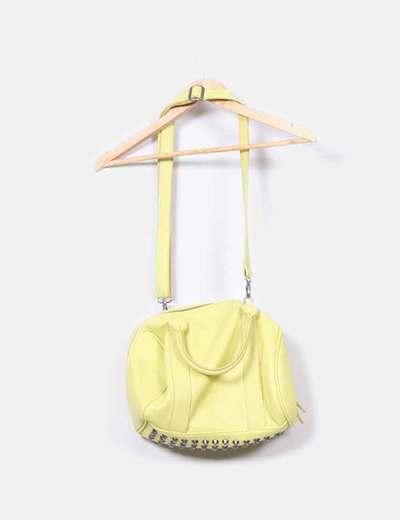Bolso bowling amarillo con tachas