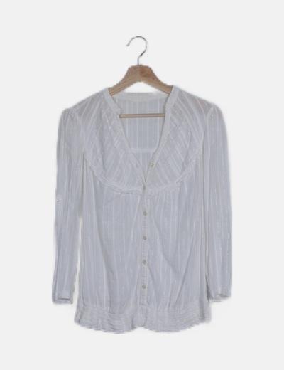 Camisa blanca raya glitter manga larga