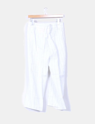 Pantalon capri lino blanco con rayas
