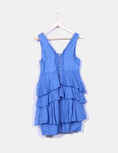 Micolet Vestido Zara Azul 77 Volantes descuento Con HzAaqT