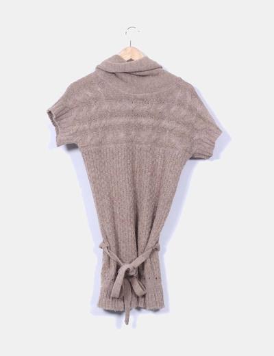 Vestido lana camel manga corta