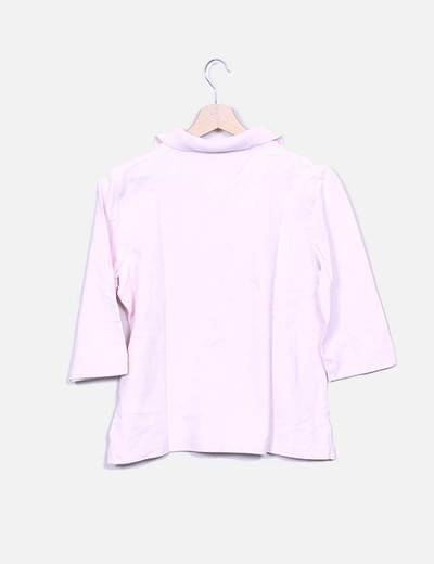 Polo rosa manga francesa