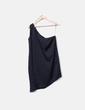Robe noire de satin asymétrique Zara