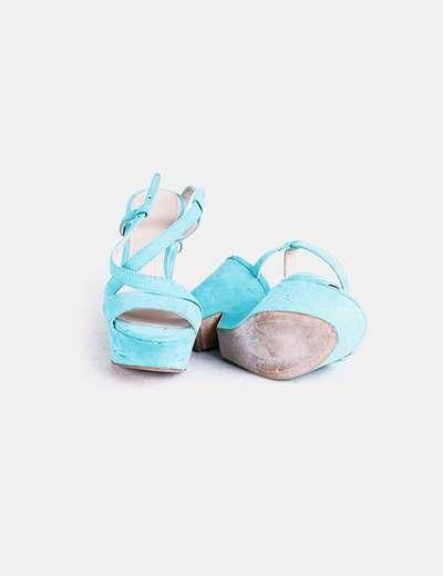 Zara Sandália azul turquesa com cunha (desconto de 75%) - Micolet ddf827c2dd
