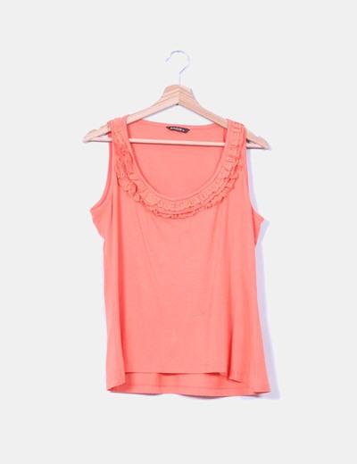 Camiseta naranja con puntilla Amitié
