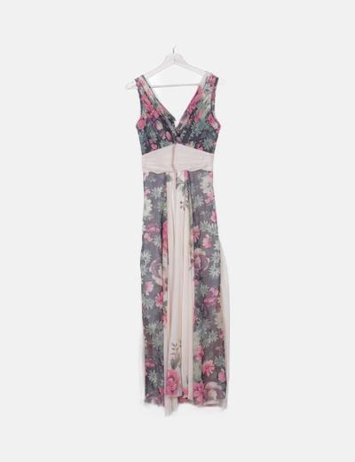 Maxi vestido fluido beige estampado floral