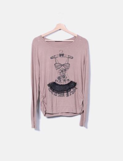 Camiseta marrón print texturizado Baishun
