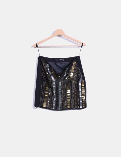 Mini falda negra con pailettes Atmosphere