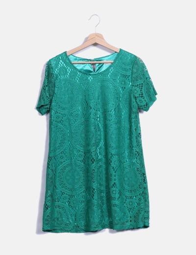 Vestido verde de encaje con manga corta SheIn
