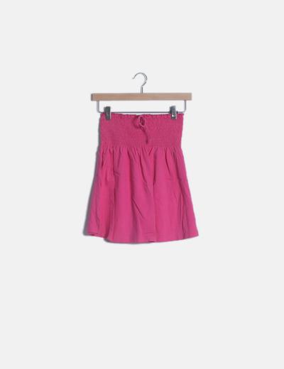 Falda rosa cintura nido abeja