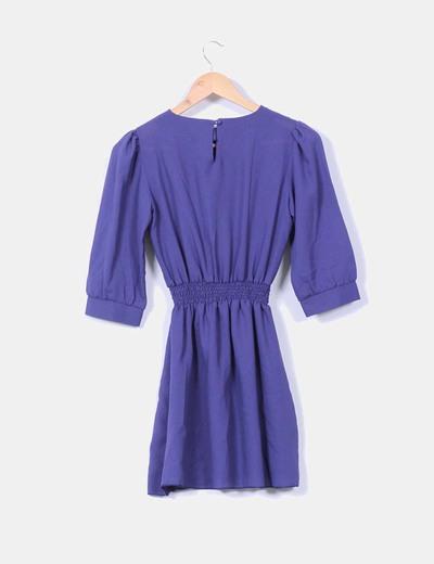 Vestido azul klein co manga francesa