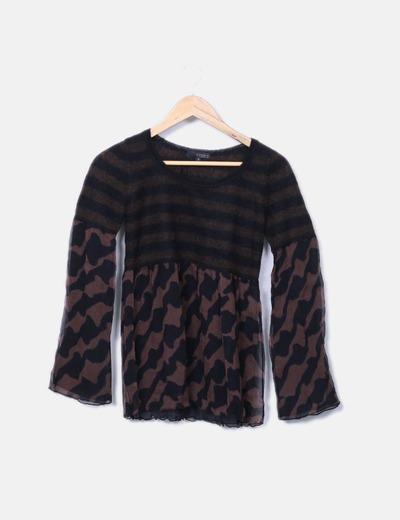 Suéter combinado seda marrón