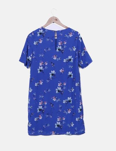 Vestido gasa azul floral
