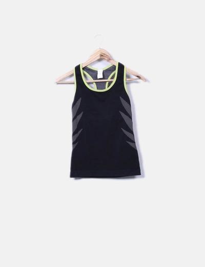 Camiseta deportiva negra combinada Oxylane