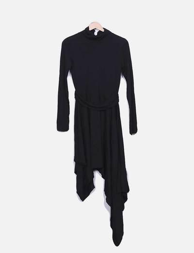 Vestido assimétrico preto com gola virada Suiteblanco