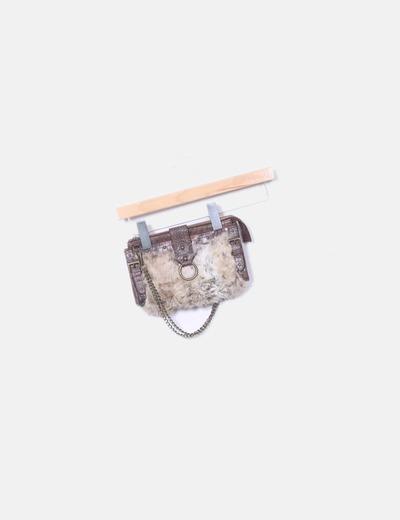Bolso de mano marrón pelo Zara
