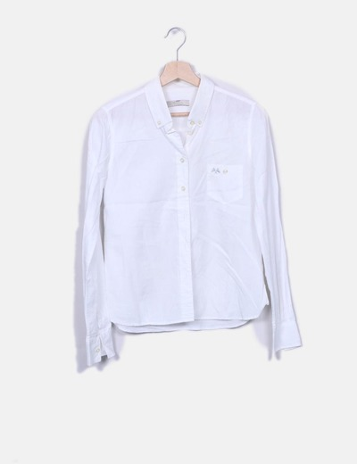ab8a37523b258 ... Thomas Burberry   Chemise blanche à manches longues. Camisa blanca  manga larga