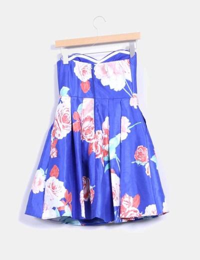 Vestido azul floral con tul