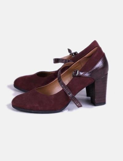 Zapato burdeos combinado antelina