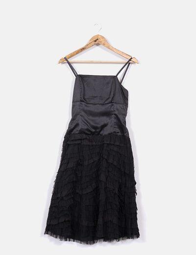 Vestido negro volantes Adolfo Dominguez